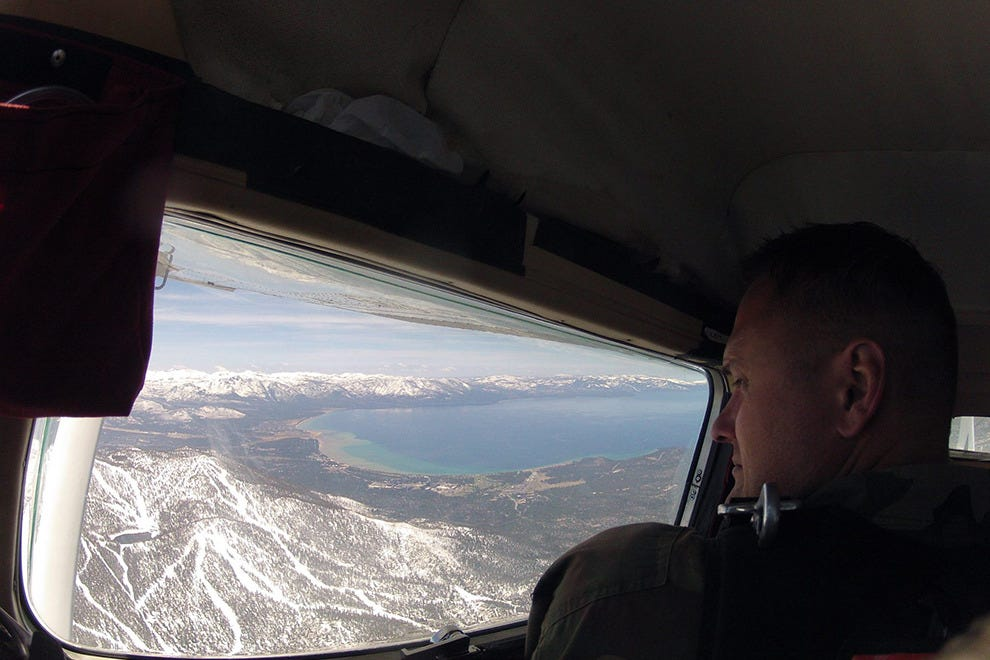 Passengers can see Lake Tahoe and the Sierra Nevada during their trip