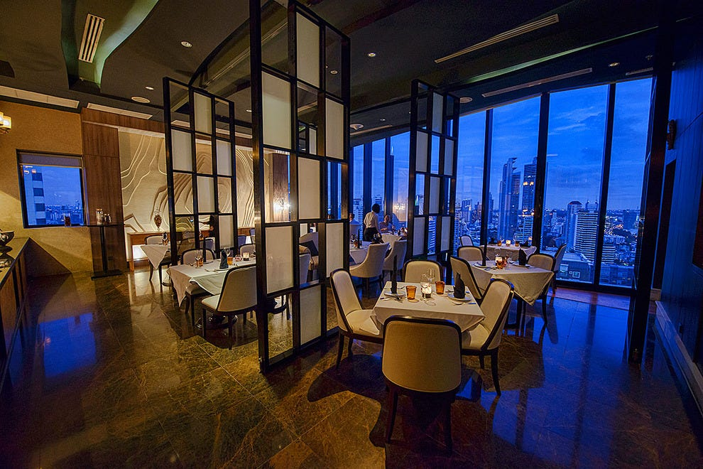 Blue hour over Bangkok from Medinii Restaurant at The Continent in Bangkok