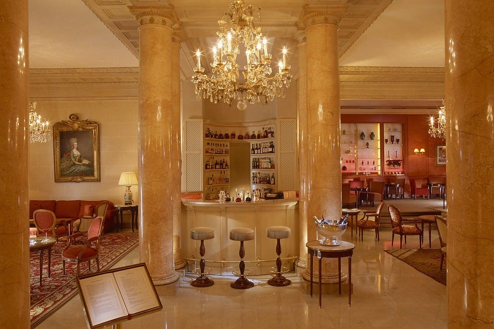 Le Jardin Français at Le Bristol Paris is the lobby-level dining area in which to enjoy a relaxed meal or drink