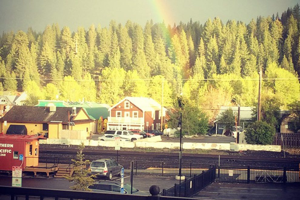 Truckee Tavern & Grill features a deck with a view of Truckee