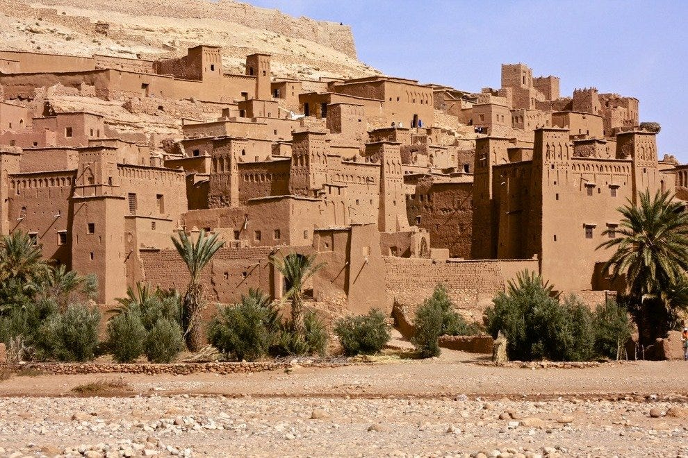 "Looks surreal– like a movie set, right? In fact Kasbah Ait Benhaddou provided the set for ""Lawrence of Arabia."""