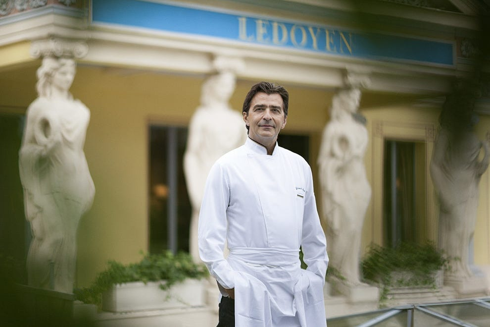 Chef Yannick Alléno in front of his 3-star Michelin restaurant Pavillon Ledoyen in Paris