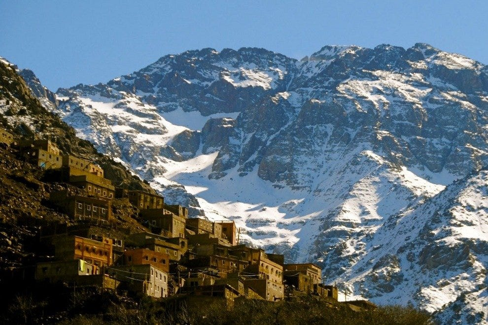 Jebel Toubkal is dusted with snow in the winter. A visit to the mountains sets up a nice contrast with the Sahara Desert.