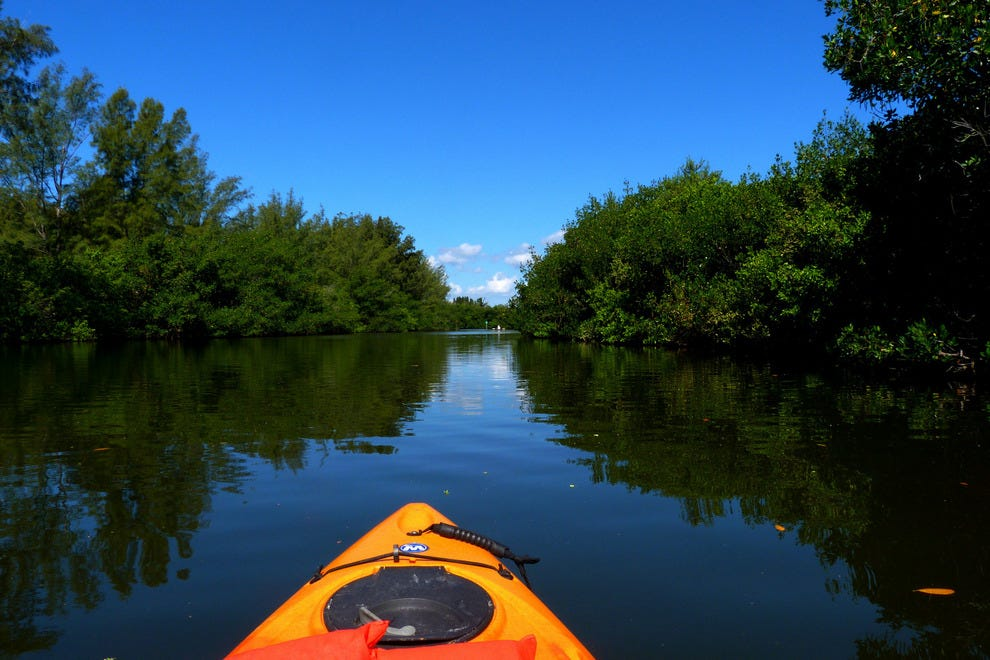 Kayaking through the Thousand Islands Conservation Area