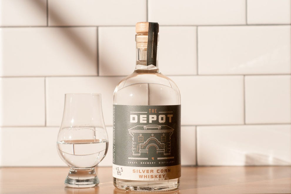 The Depot distills their own gin and whiskey for the bar's cocktails