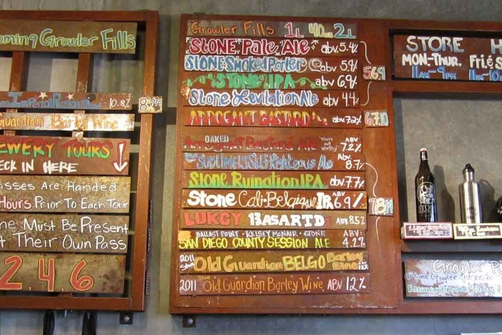 Tap list at Stone Brewing, Escondido