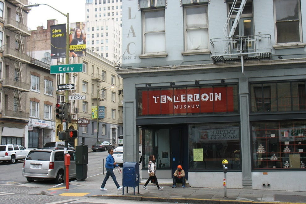 Exterior of Tenderloin Museum, on the corner of Eddy and Leavenworth