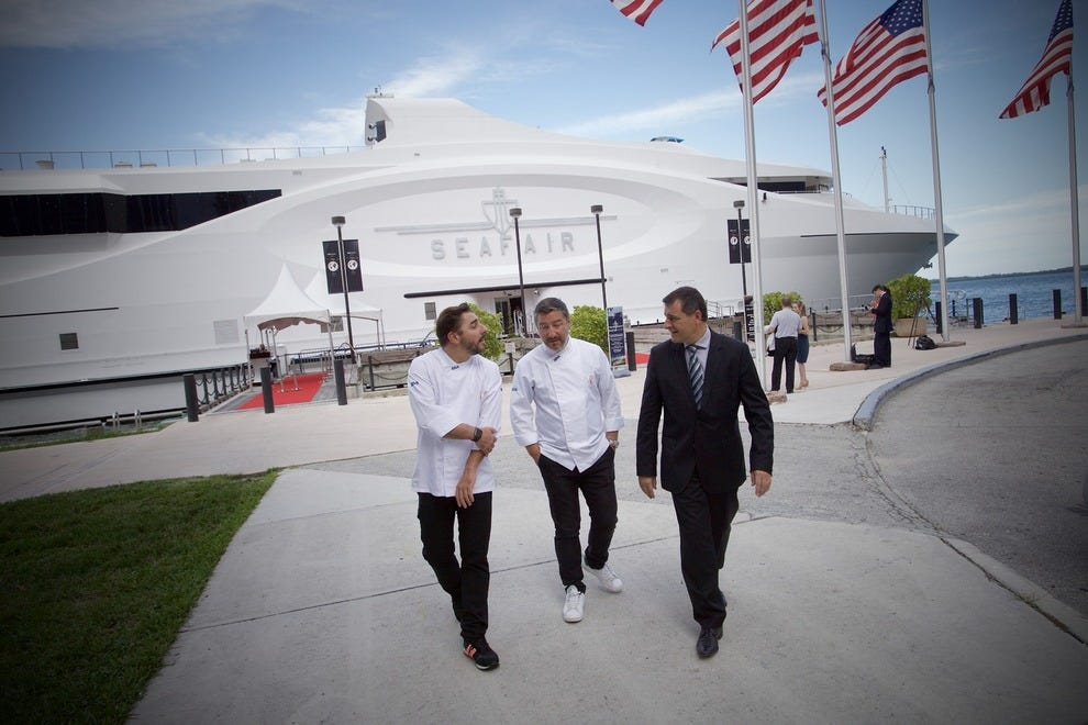 Jordi Roca, Joan Roca, and Josep Roca in front of the SeaFair in Downtown Miami