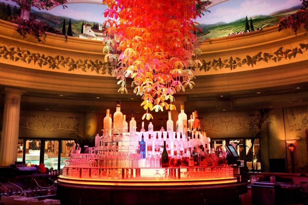 The Peppermill's Terrace has an incredible cocktail menu and unforgettable glass centerpiece