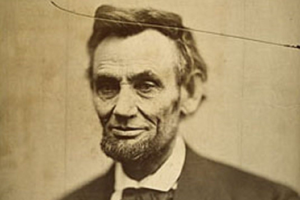 "Photographer Alexander Gardner captured this image of President Abraham Lincoln, known as the ""cracked-plate"" portrait"