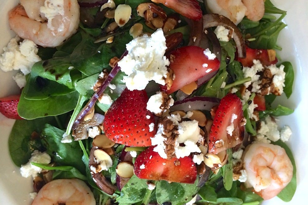 There are plenty of healthy menu items, too, like the strawberry and goat cheese salad