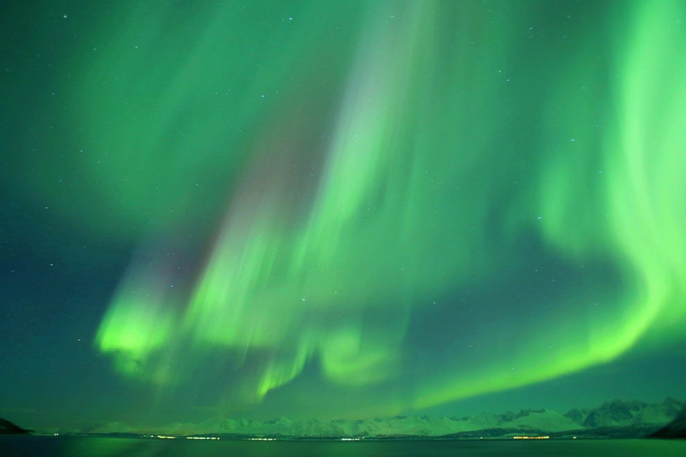 A spectacular display of Northern Lights is caught from a Hurtigruten ship in Norway's far north
