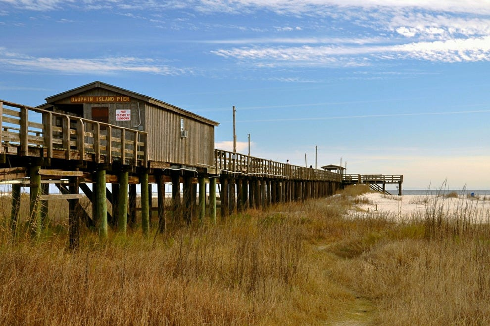 10 awesome places to visit within an easy drive of new for Dauphin island fishing pier