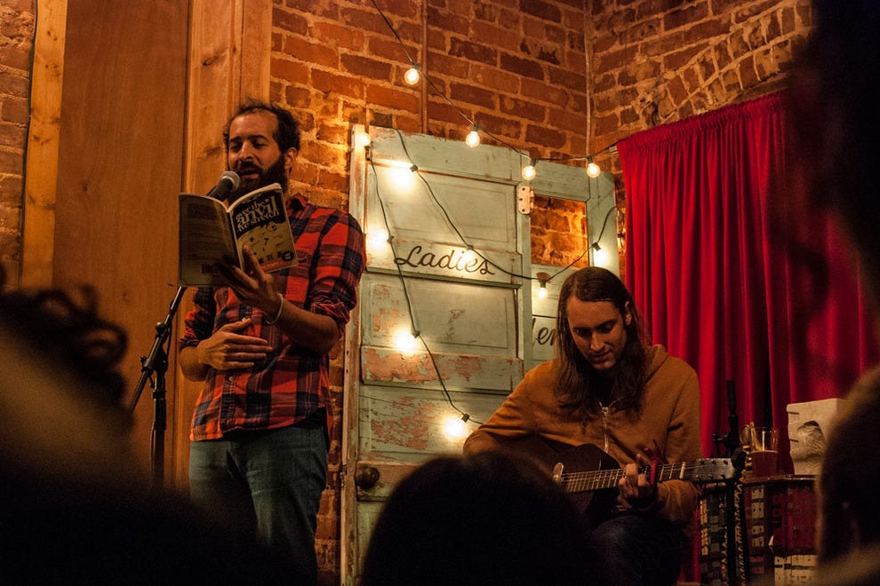 James Wallace and Anis Mojgani performing together at Grocery on Home