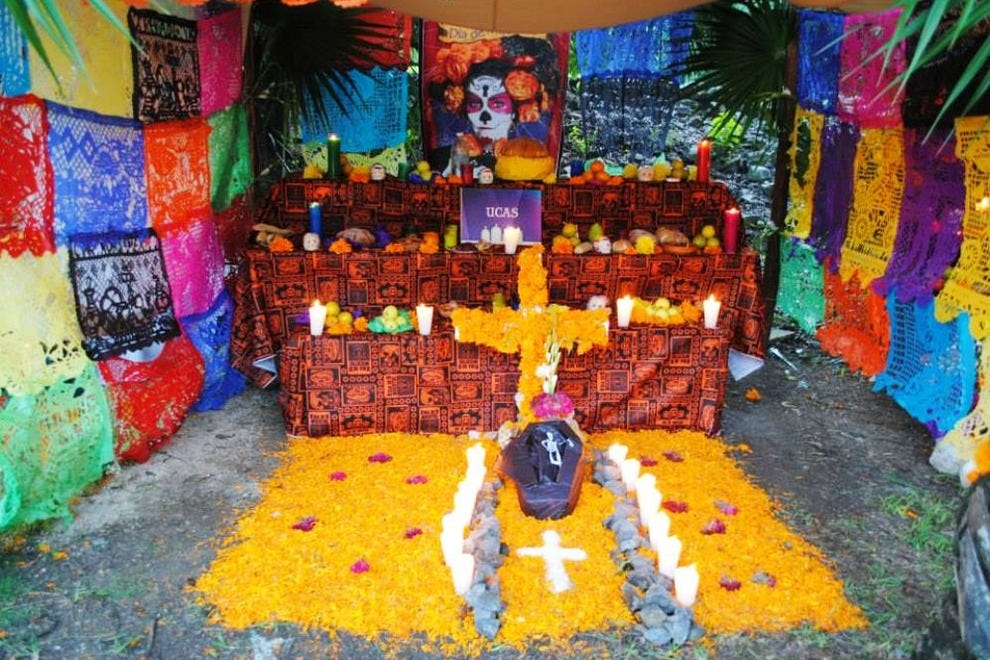 Mexicans celebrate Day of the Dead in their homes by constructing an altar