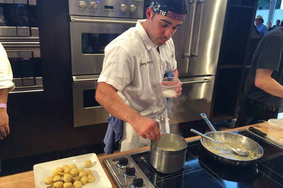 Jimmy Bannos, Jr. prepares gnudi, his naked pasta at Chicago Gourmet