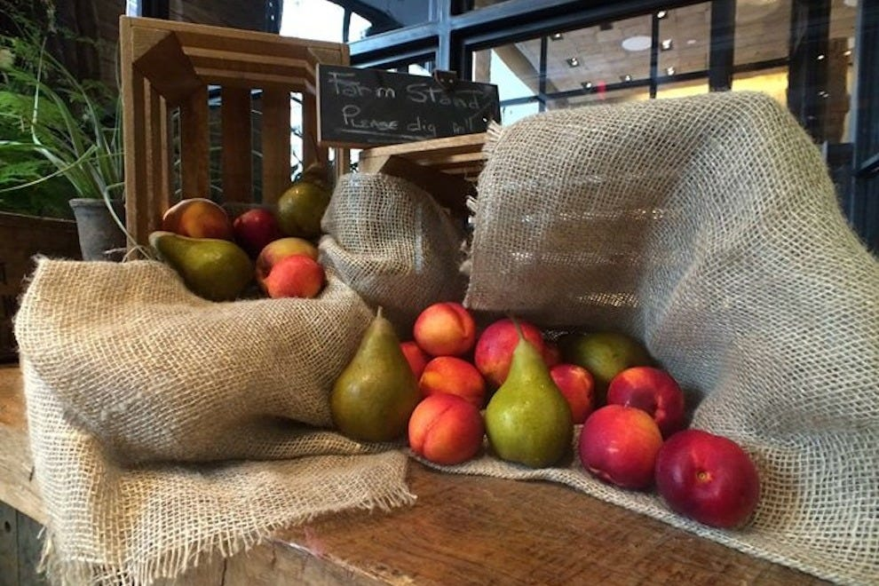 The lobby's farm stand serves fresh, locally sourced fruit daily