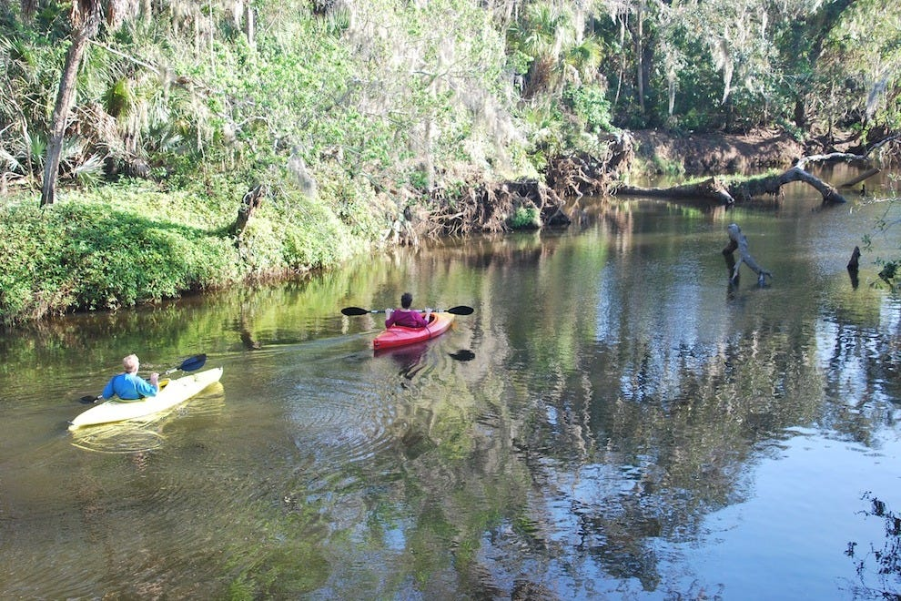You can kayak or canoe down the creek