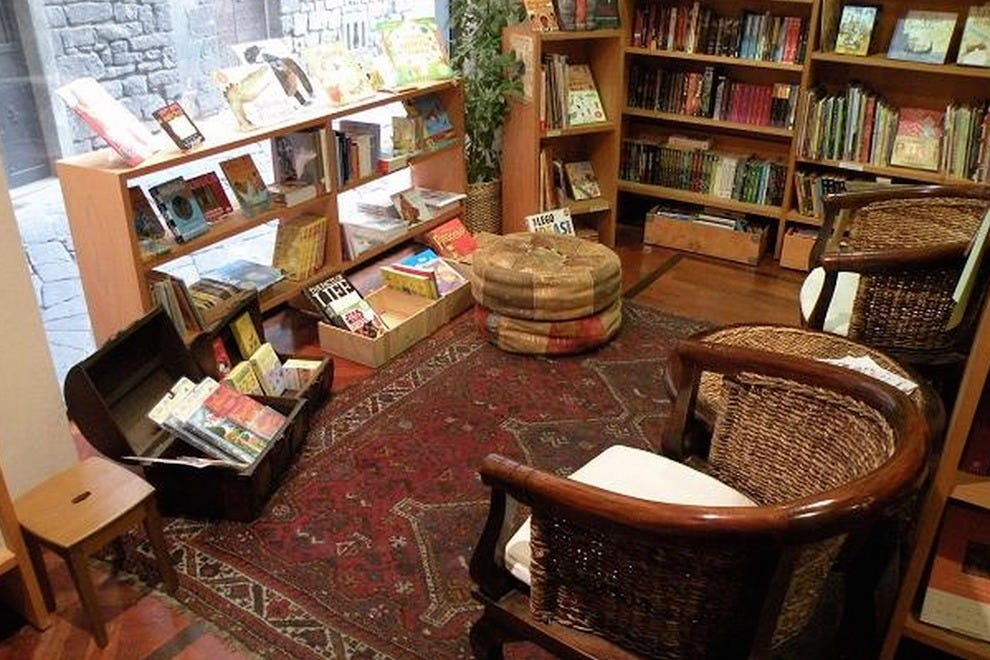 The cozy interior of Paperback Exchange bookstore
