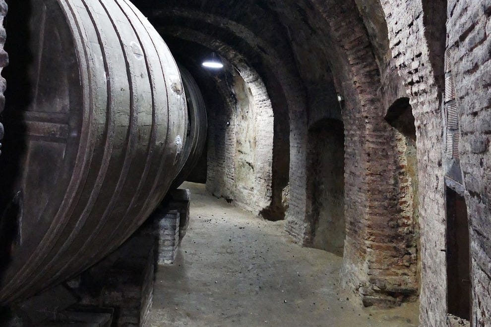 "The 500-year-old cellars at Alvarez y Diez, nicknamed ""The Inquisition."""