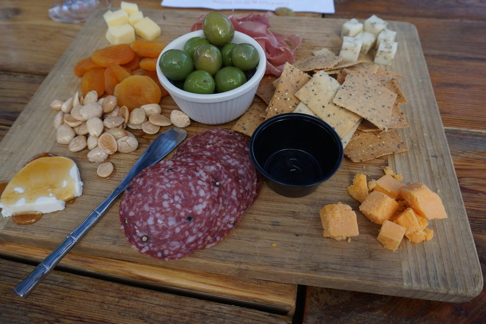 Local cheese, honey and cured meats make up the charcuterie plate at Cass Vineyards