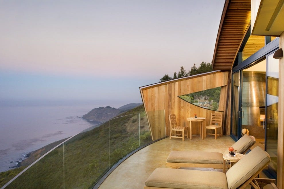 Drink in epic views from your balcony at Post Ranch Inn in Big Sur.