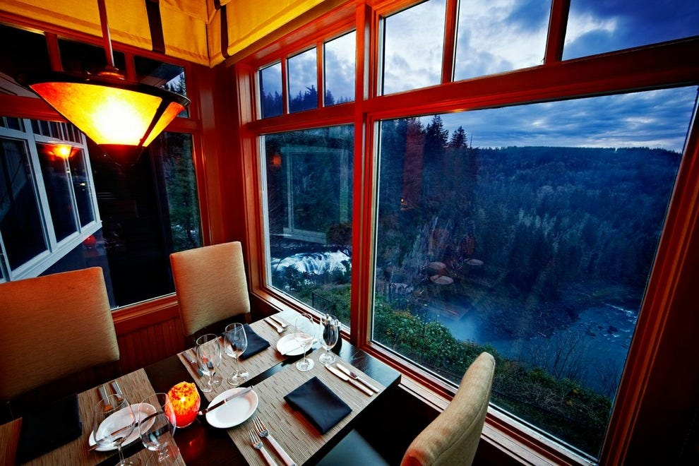 The lodge's dining room offers sensational views