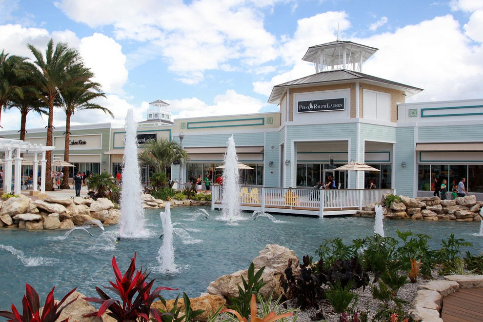 Tampa Premium Outlets features charming Key West architecture, tropical landscaping and fountains