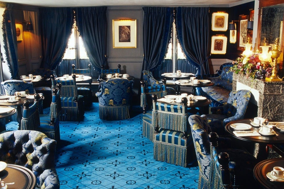 The Blue Room, an upstairs lounge at Ladurée Paris Bonaparte