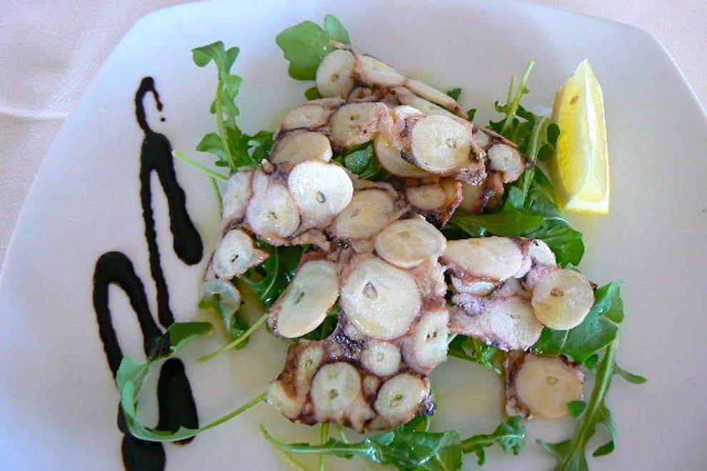 Thinly sliced octopus with a Mediterranean accent