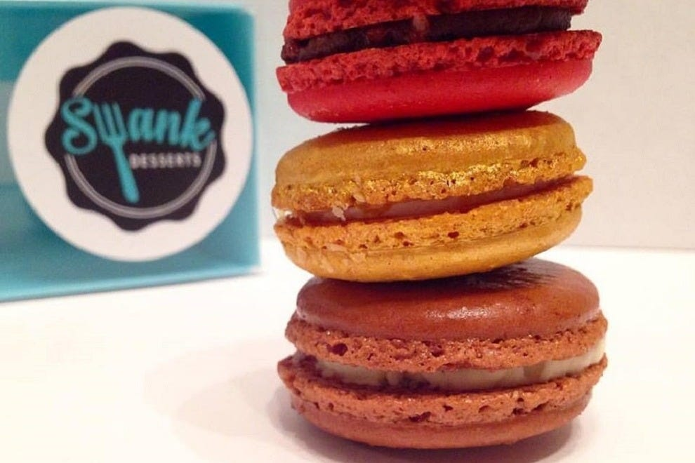 Champagne, Chocolate Cherry Pop and Gingerbread Eggnog macarons