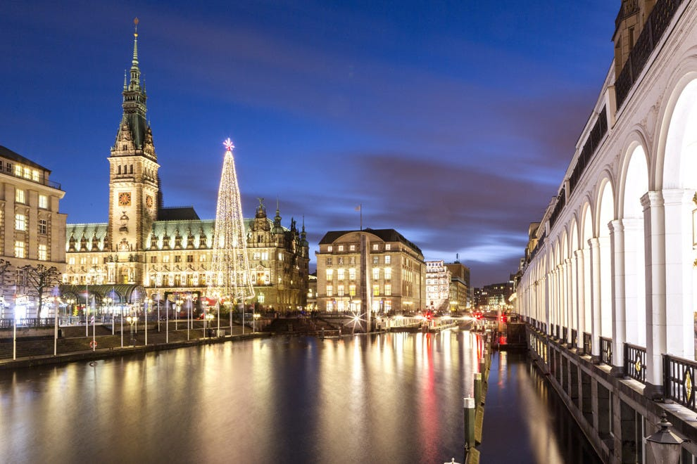 Hamburg's Christmas Market is set against the historic Town Hall