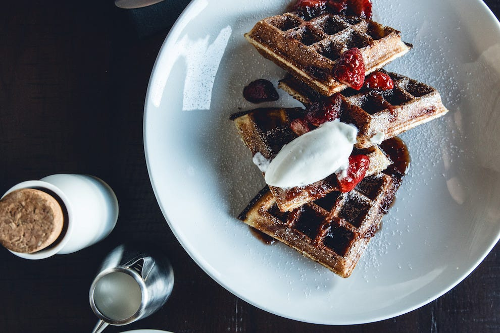 Sourdough waffles on the brunch menu