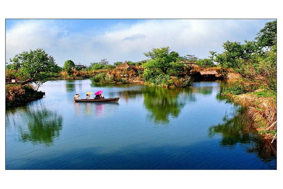 Take a boat through the Xixi Wetland Park