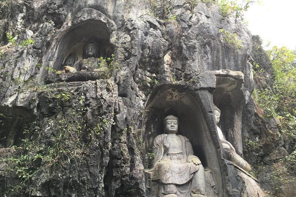 Limestone carvings on the way to the temple