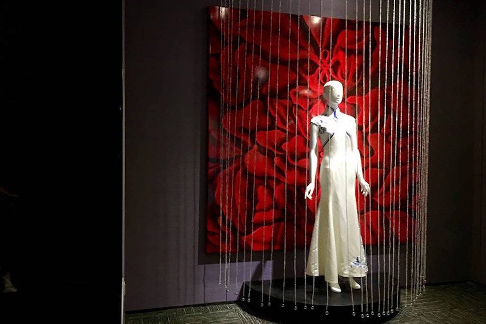 A silk dress on display at the silk museum