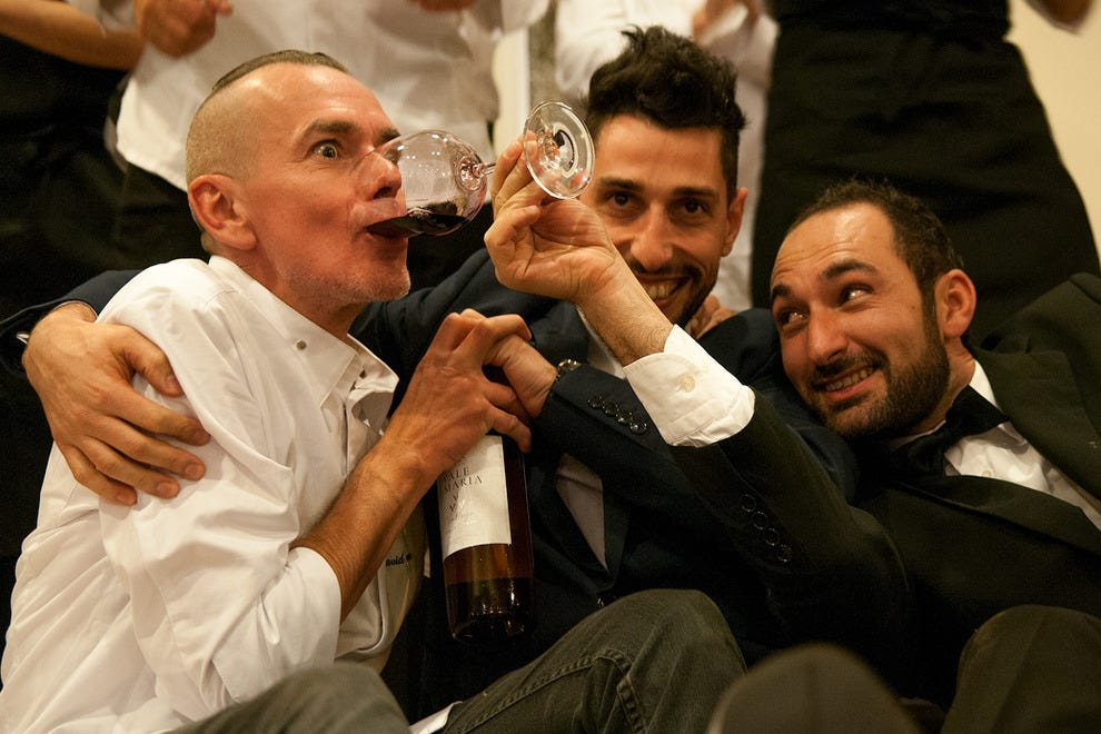 Cliff Bay's sommelier Sergio Marques (right) offers chef David Faure an unorthodox drop of red wine.