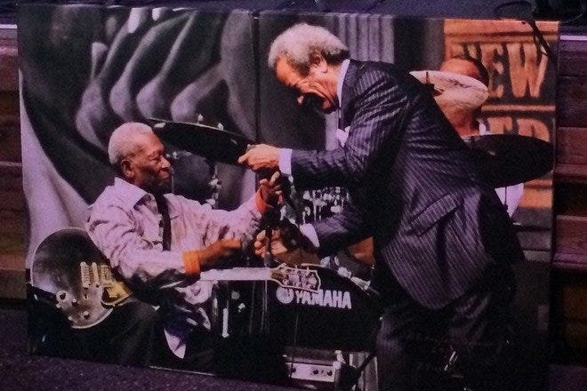 The late great B.B. King and Allen Toussaint, in a photo hanging in B.B. King's Blues Club in New Orleans