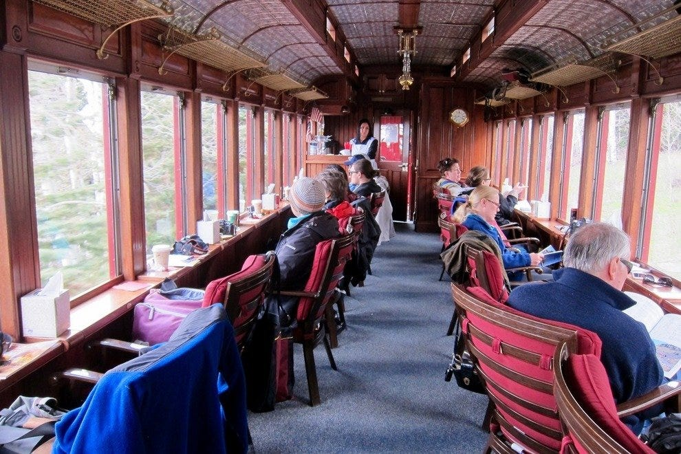 This car was carefully renovated with details and decor that reflect the opulence of Victorian-era trains