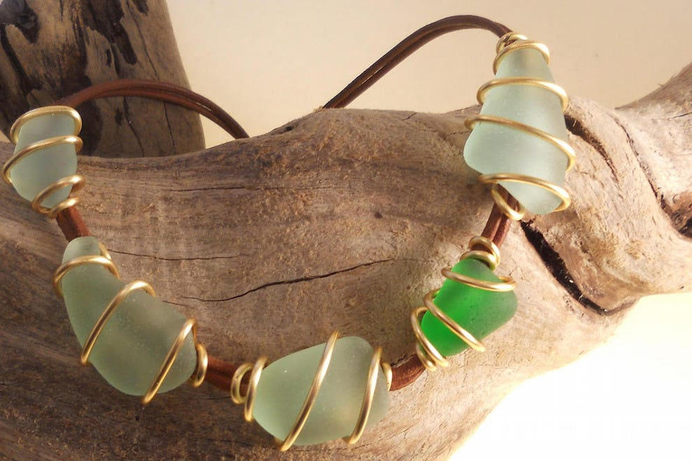 Sea glass bracelet by Christine Pagano