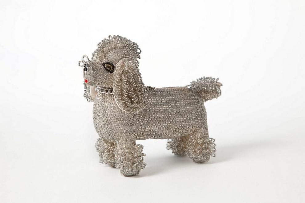 Poodle clutch with silver beadwork, made in Japan