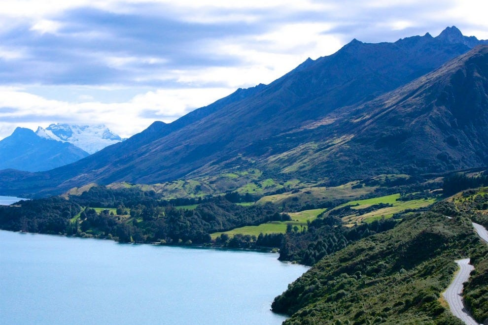 The road from New Zealand's Queenstown to Glenorchy offers stunning lake and mountain views with little traffic