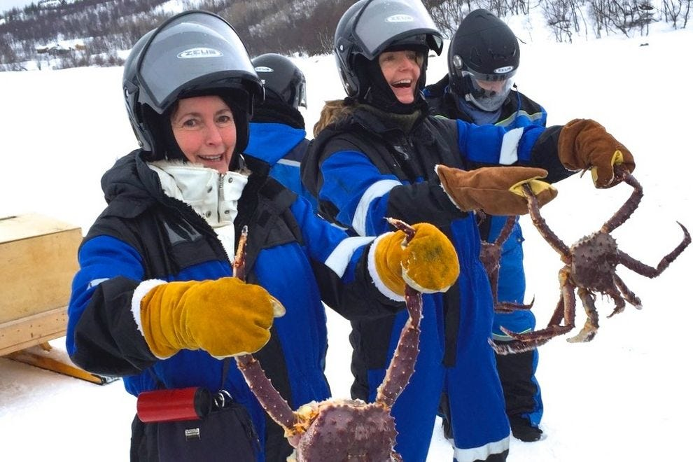 "Crab catch on an icy fjord leads to all-you-can-eat crab feast aboard a Hurtigruten shore trip into ""real"" Norway"