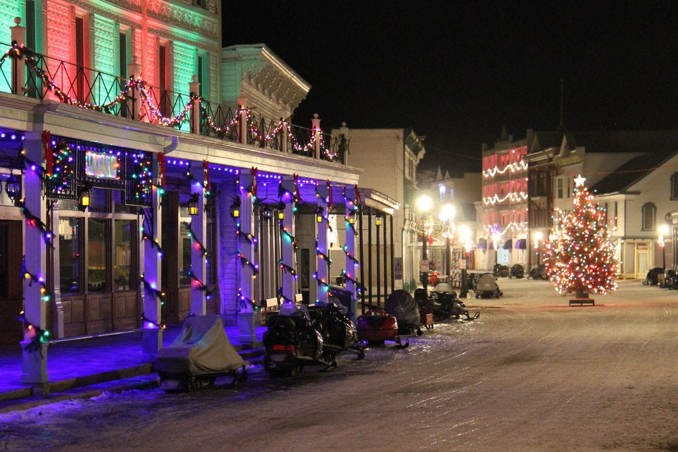 Downtown Mackinac Island shines during the holidays