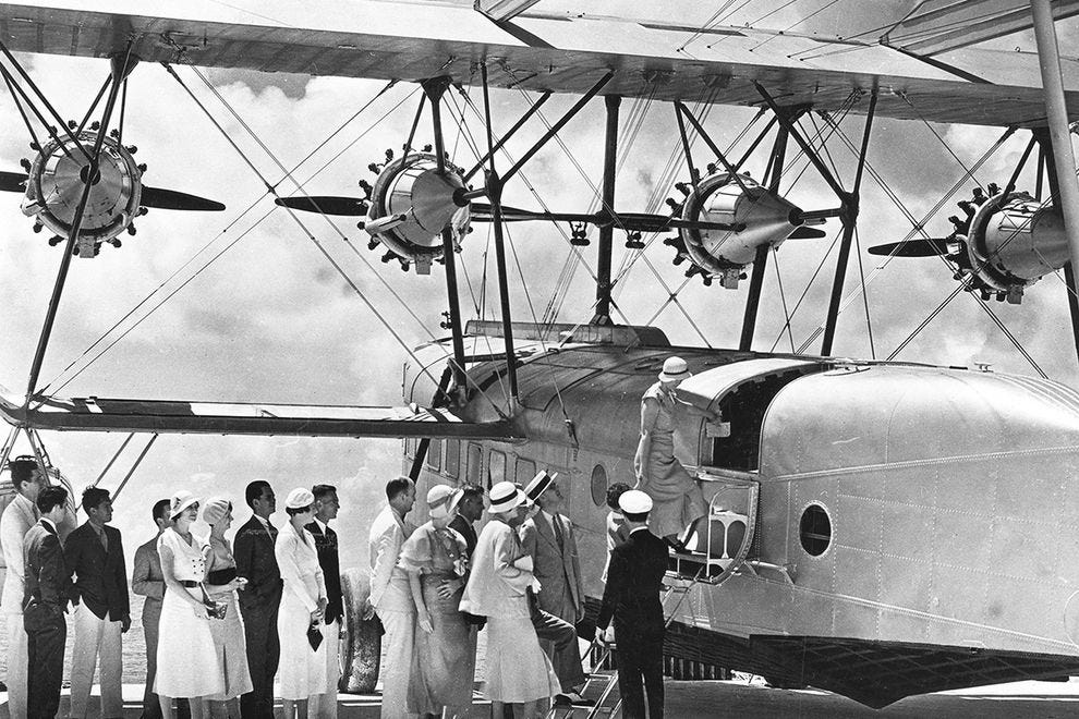 Passengers boarding a Pan Am plane in 1932