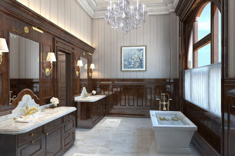 Master bathroom in the Postmaster Suite