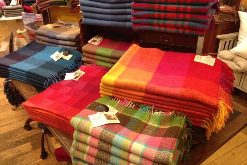 Handwoven blankets at Avoca