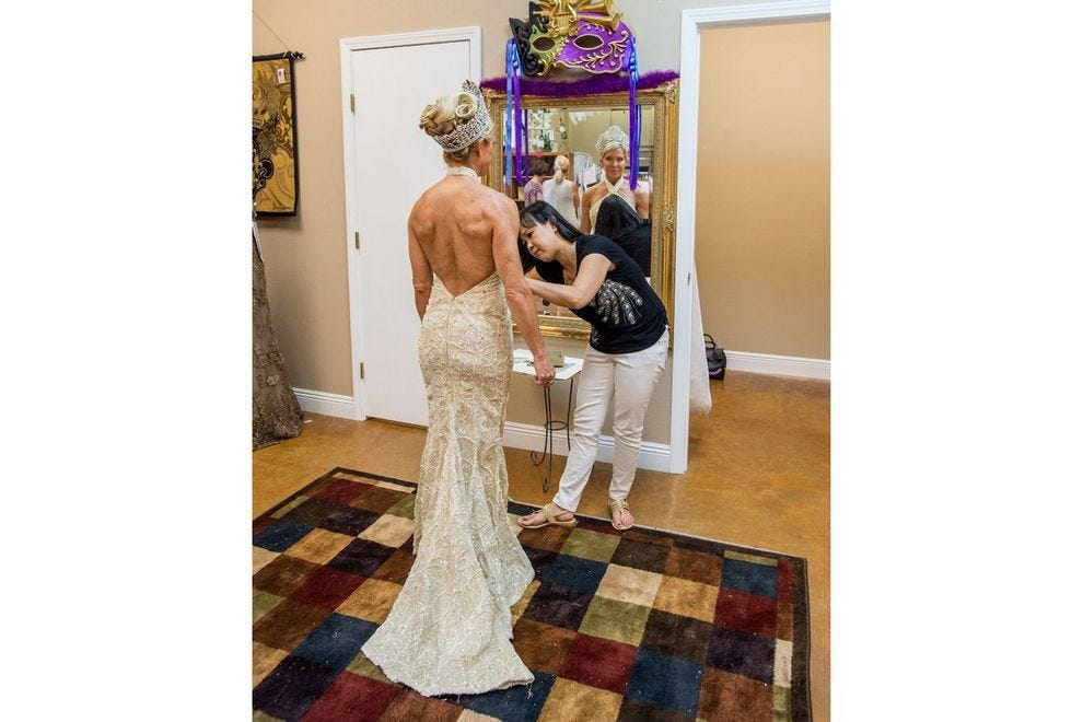 Susan Hoff at a fitting for her ball gown, designed by D&D Creations of New Orleans