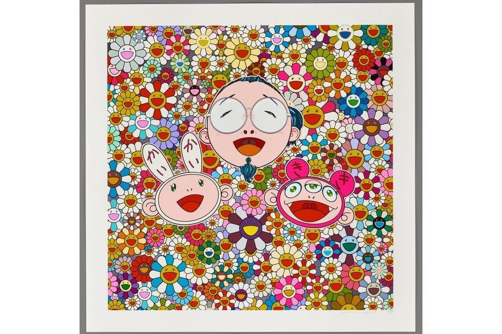 Traditional flowery Asian works combine with the modern, like in this silkscreen by Takashi Murakami