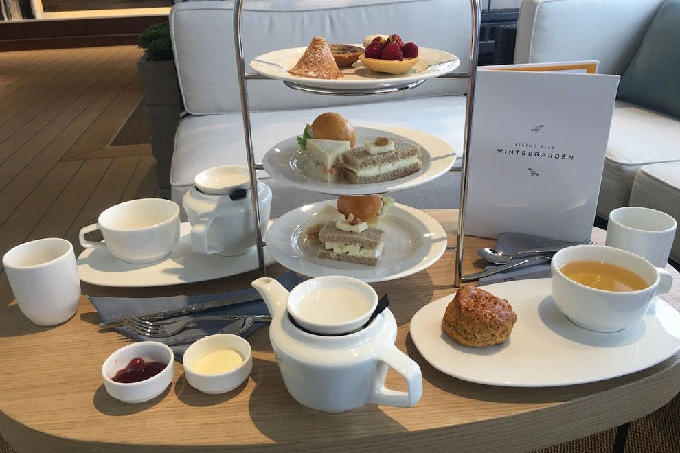Afternoon tea in the Wintergarden, Viking Ocean Cruises